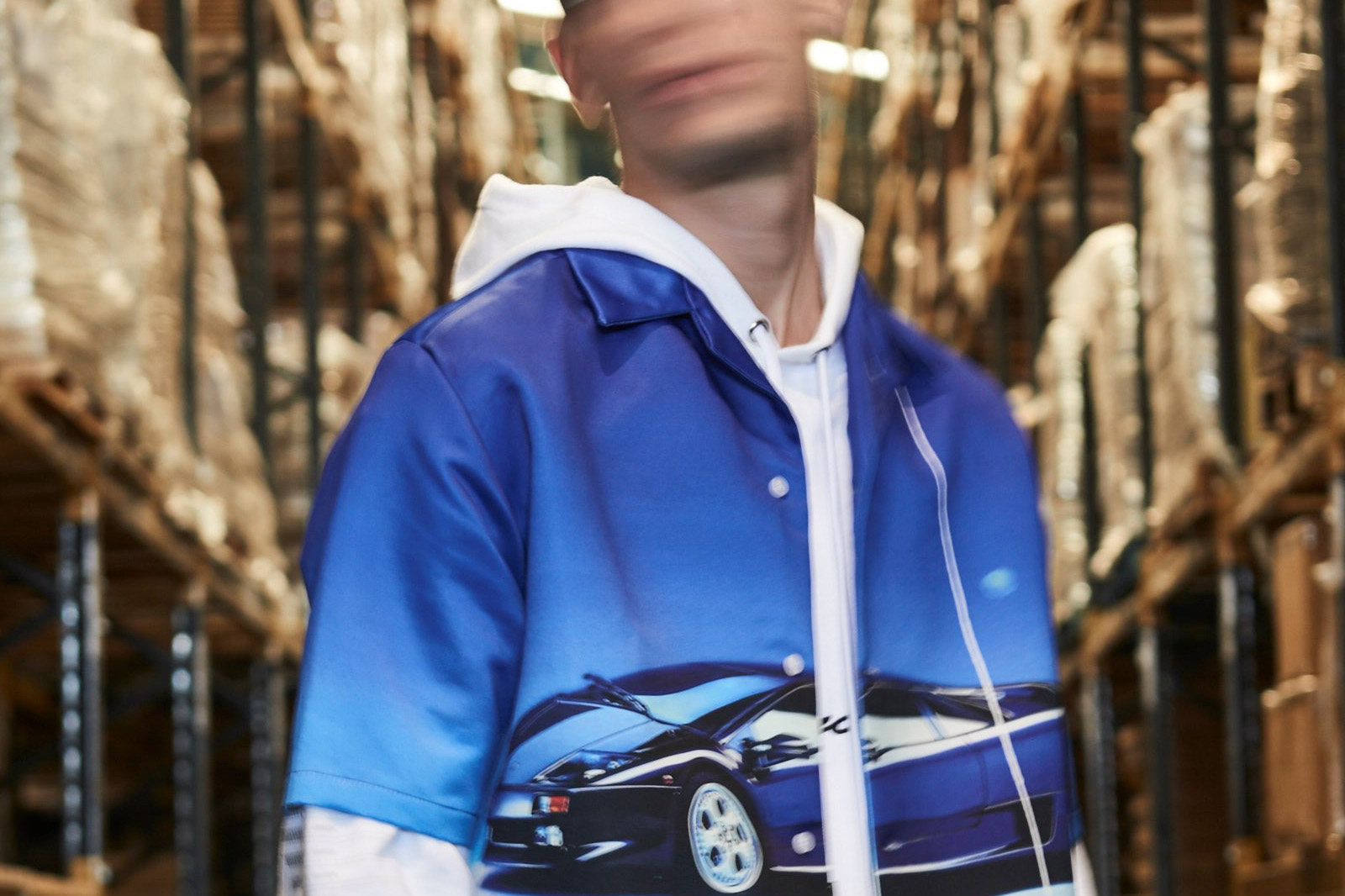 Model wearing Blood Brother jacket and face blurred