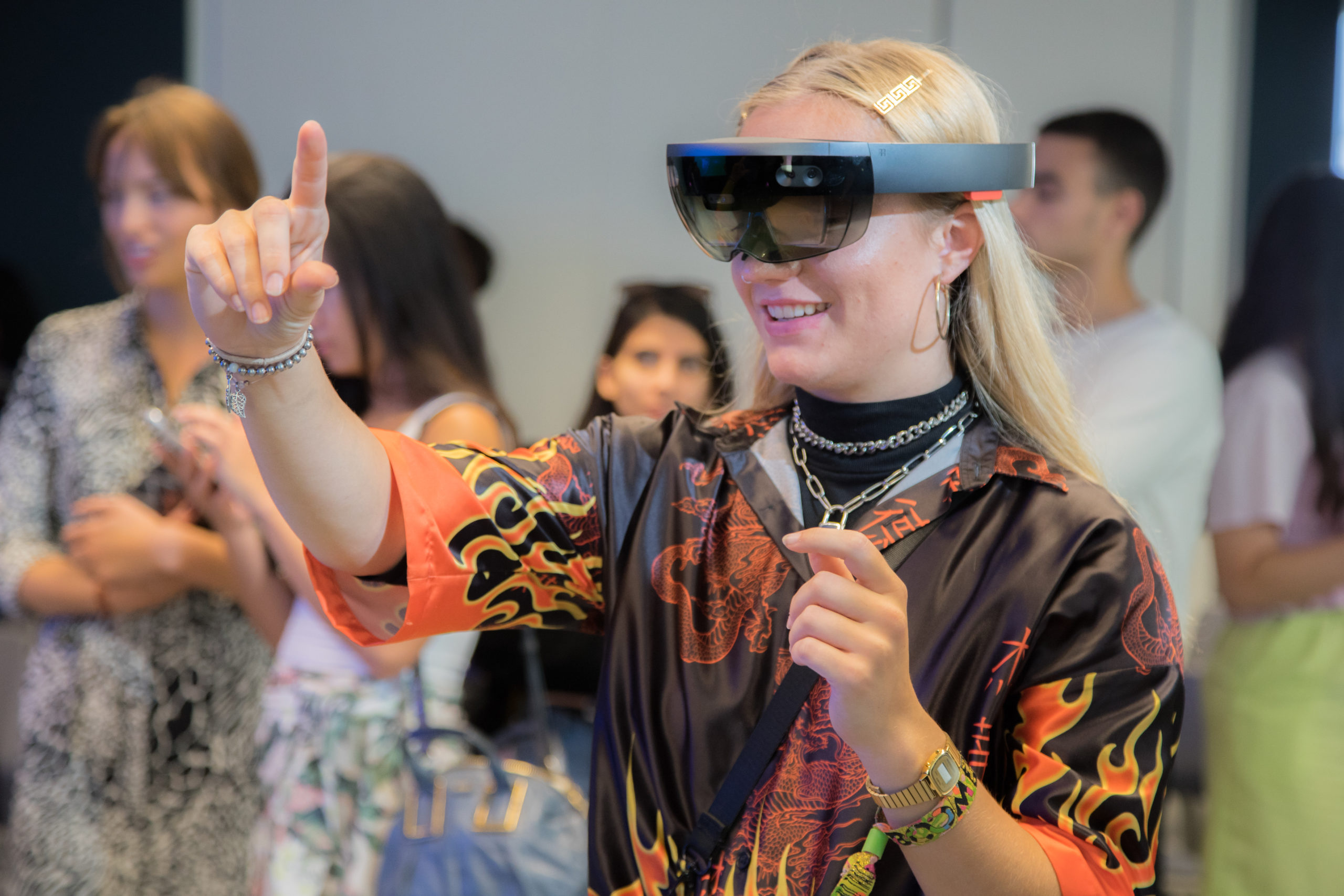 girl with mixed reality headset, microsoft workshop, fashion innovation agency