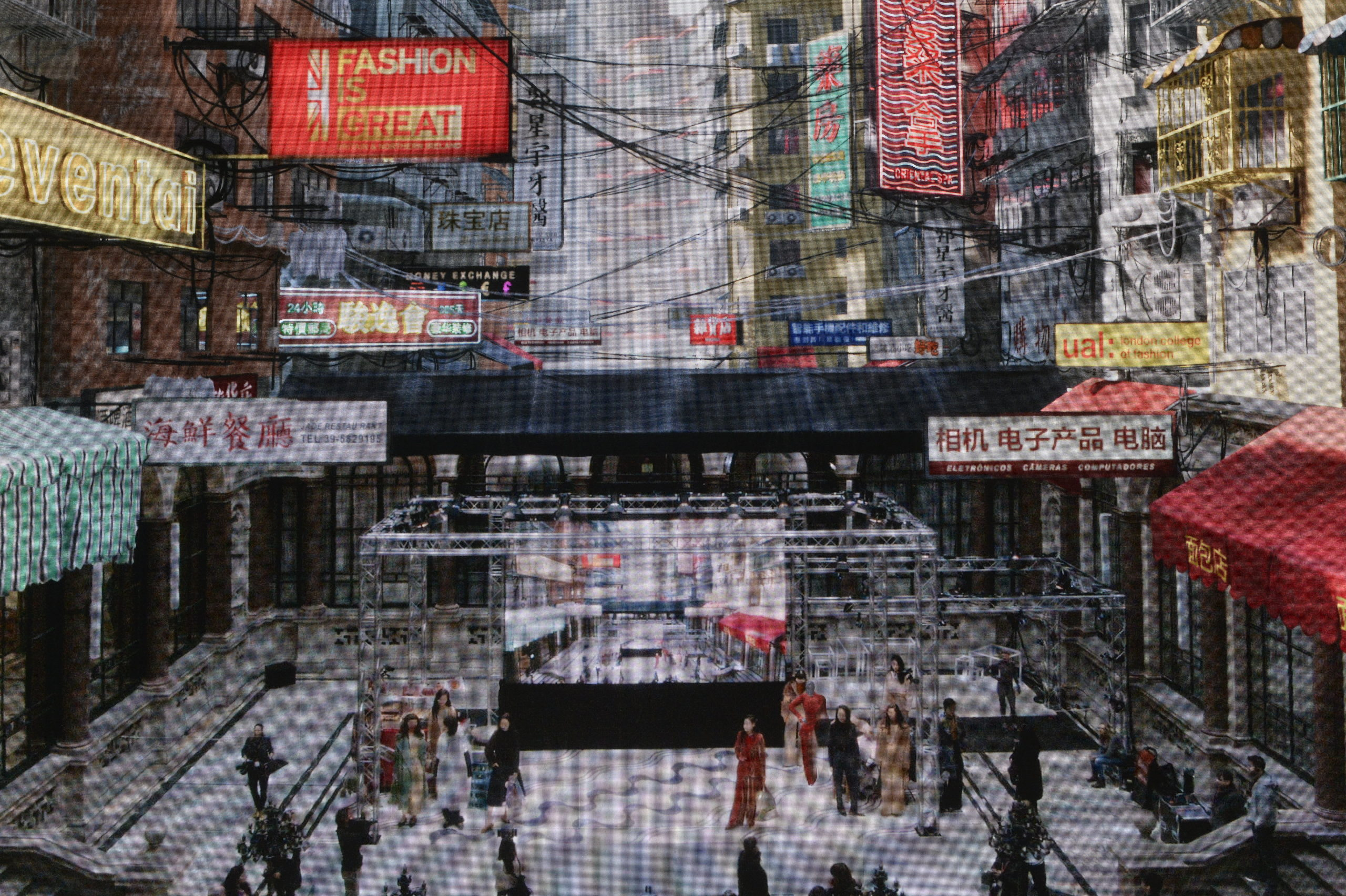 CGI real-time augmented scene of Macau on building with presentation stages with models