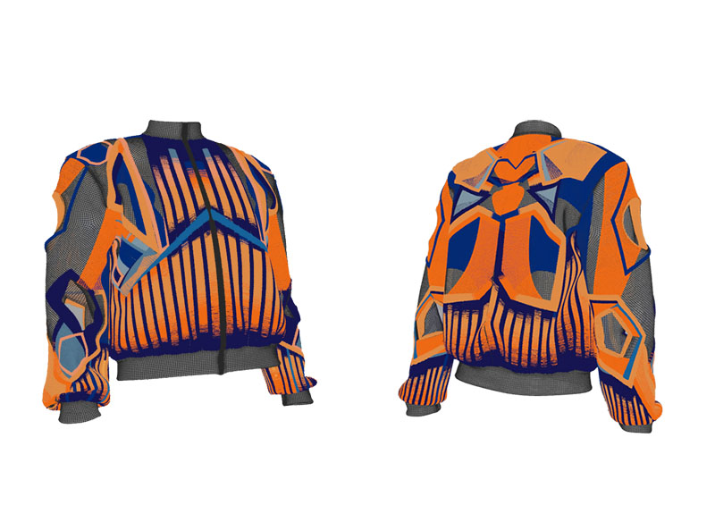 Digitally created orange and blue bomber jackets with graphic embroidery, Fashion Innovation Agency