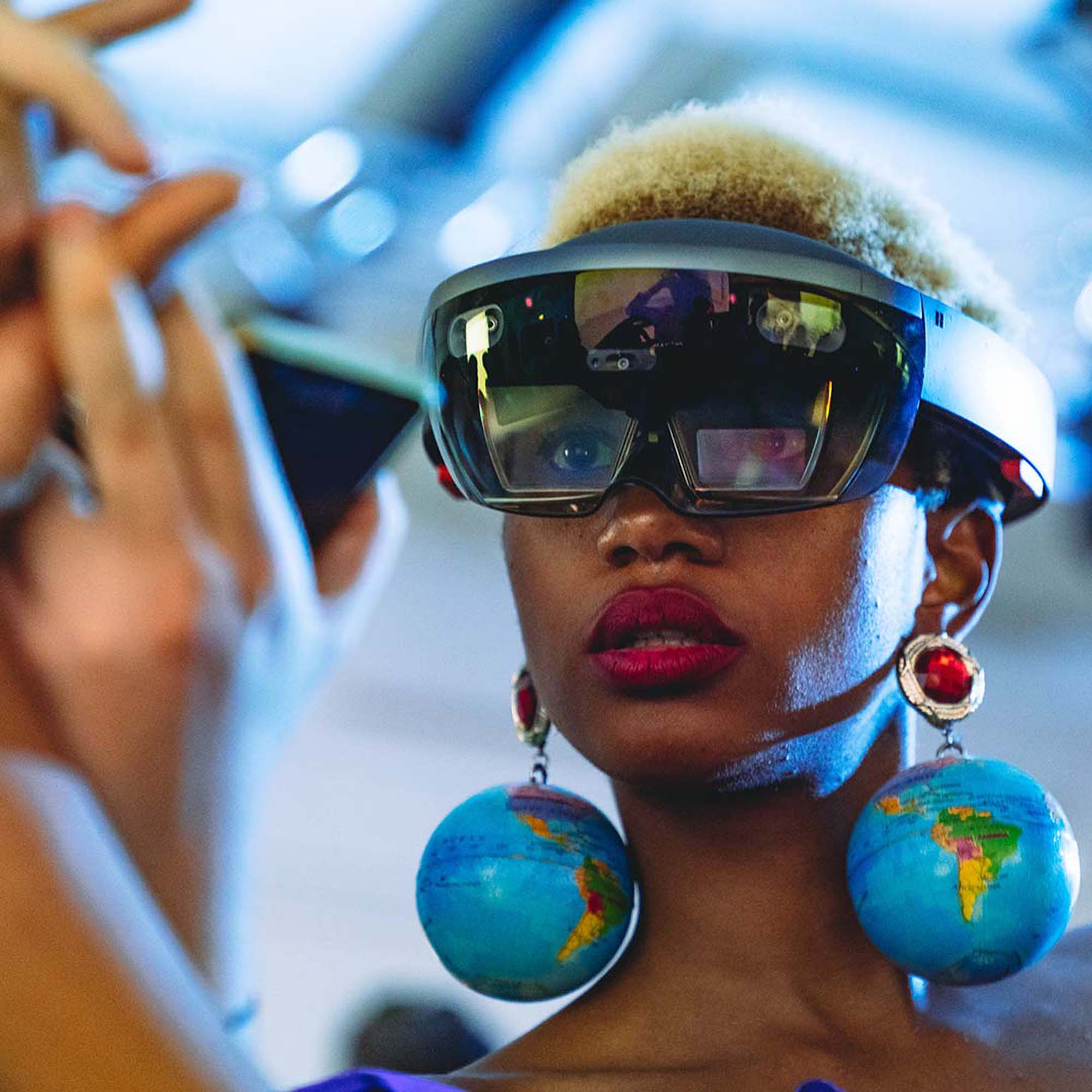 Lady wearing a Microsoft HoloLens augmented reality device