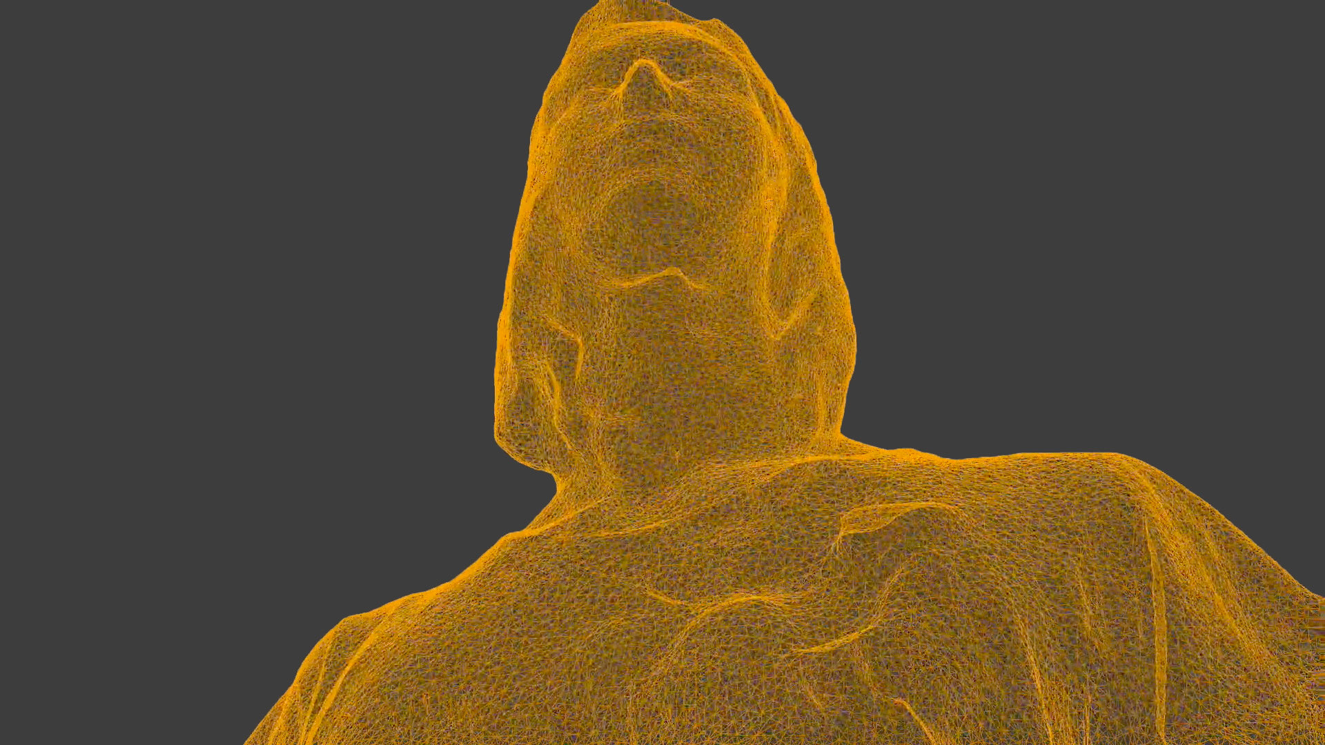 Head shot from below of point cloud