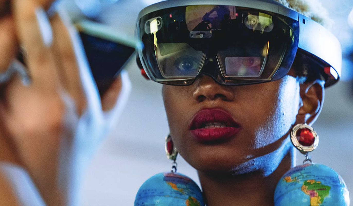 Damara Ingles in a HoloLens mixed reality headset, Microsoft Incubator, Fashion Innovation Agency