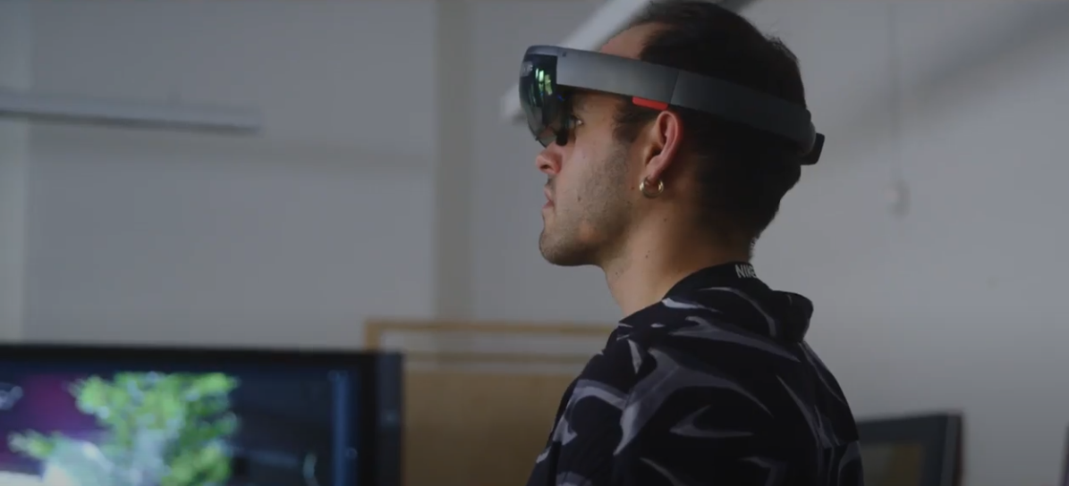 student wearing a mixed reality headset