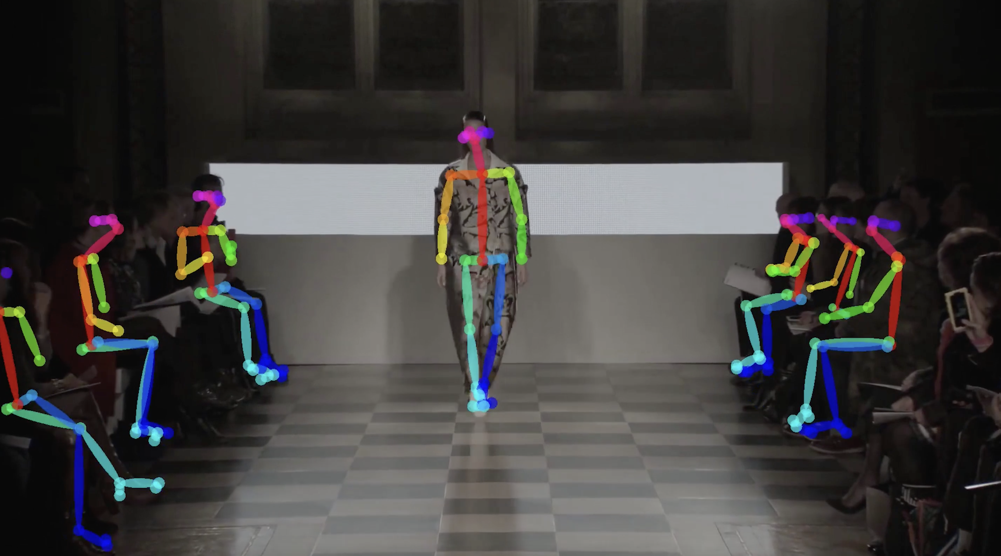 catwalk and runway with skeletal tracking on bodies
