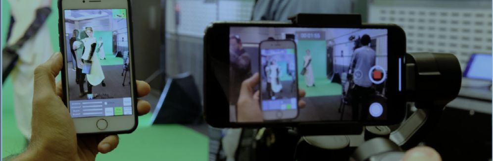 HoloMe capturing models against green screen at a fashion catwalk, augmented reality, , Fashion Innovation Agency