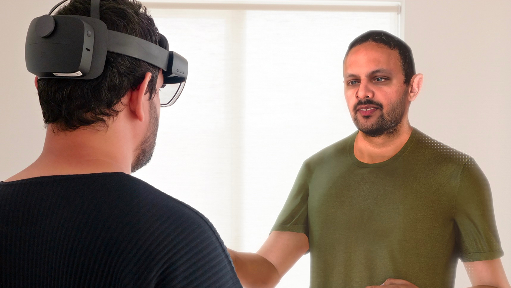 Moin in VR headset interacting with Moin Avatar