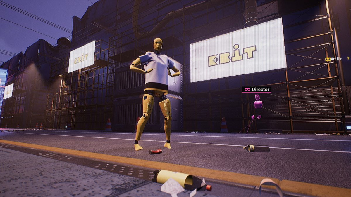 Virtual Dummy in cyber environment in front of EBIT sign